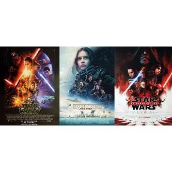 LOT STAR WARS 3x Affiches de film - Le Réveil de la Force, Rogue One et Les Derniers Jedi