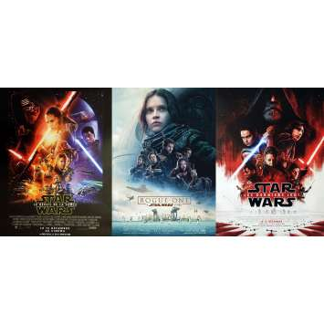 STAR WARS Movie Poster LOT of 3 ! Last Jedi, Rogue One, Force Awakens, ORIGINALS, ROLLED !
