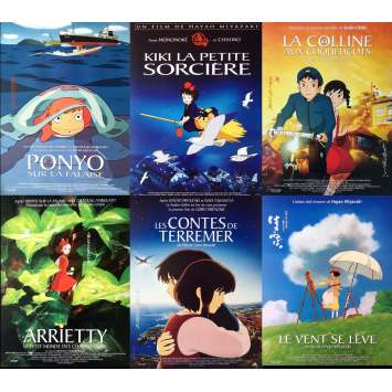 MIYAZAKI / GHIBLI Lot of 6 Original French Movie Posters N2 - ROLLED / NM !