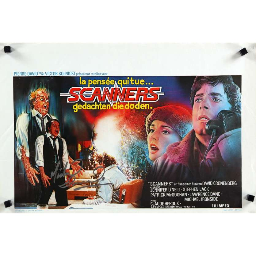 SCANNERS signed Belgian movie poster '81 by Michael Ironside, directed by David Cronenberg