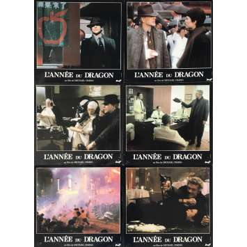 YEAR OF THE DRAGON Lobby Cards x6 - 9x12 in. - 1985 - Michael Cimino, Mickey Rourke