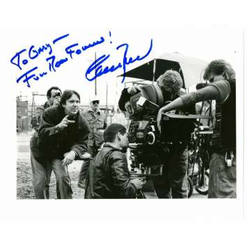 CHARLES BAND signed 8x10 REPRO still '90s the director on movie set with camera & crew!