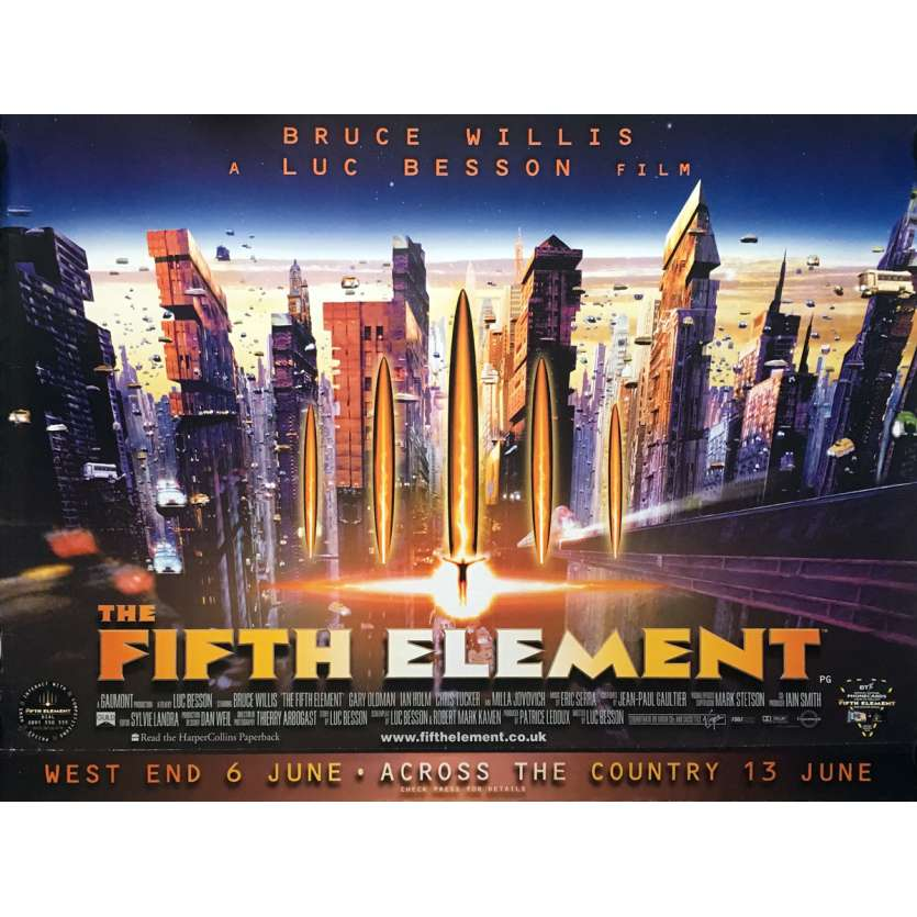 LE 5E ELEMENT Affiche de film - 72x104 cm. - 1997 - Bruce Willis, Luc Besson