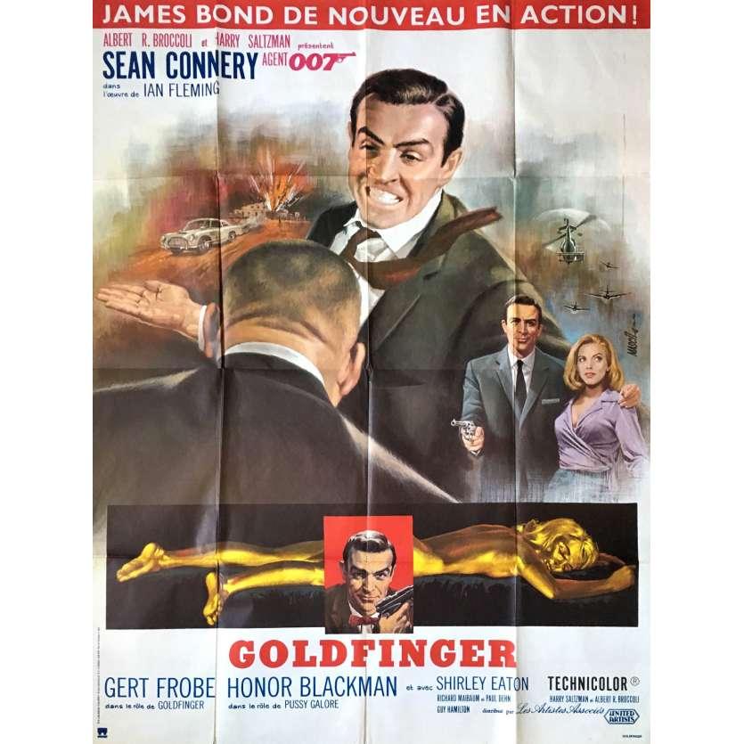 GOLDFINGER Affiche de cinéma 120x160 - R80 - Sean Connery, James Bond