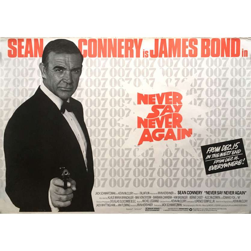 NEVER SAY NEVER AGAIN Movie Poster - 30x40 in. - 1983 - James Bond, Sean Connery