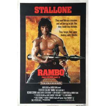RAMBO - FIRST BLOOD PART II Movie Poster Advance - 29x41 in. - 1985 - George P. Cosmatos, Sylvester Stallone