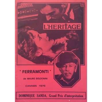 L'HERITAGE Dossier de presse 20p - 21x30 cm. - 1976 - Anthony Quinn, Mauro Bolognini
