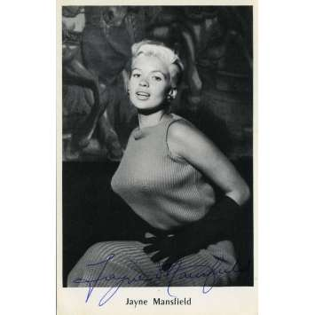 JAYNE MANSFIELD Signed Postal Card - 3,5x5,5 in. - 1960 - Exc., W/ COA