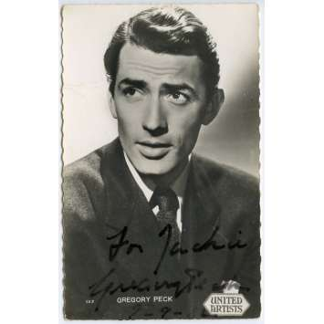 GREGORY PECK Carte Postale signée - 9x14 cm. - 1954 - W/ COA, Exc.