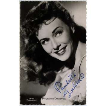 PAULETTE GODDARD Signed Postal Card - 3,5x5,5 in. - 1952 - Exc., W/ COA