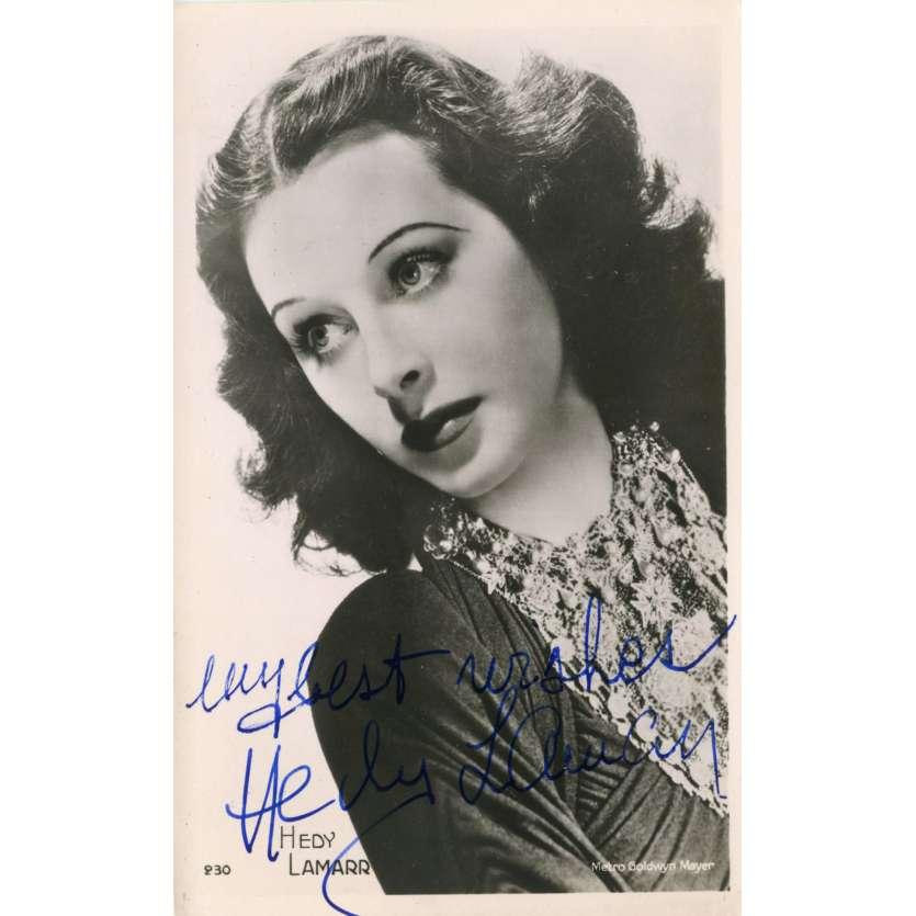 HEDI LAMAR Carte Postale signée - 9x14 cm. - 1950 - W/ COA, Exc.