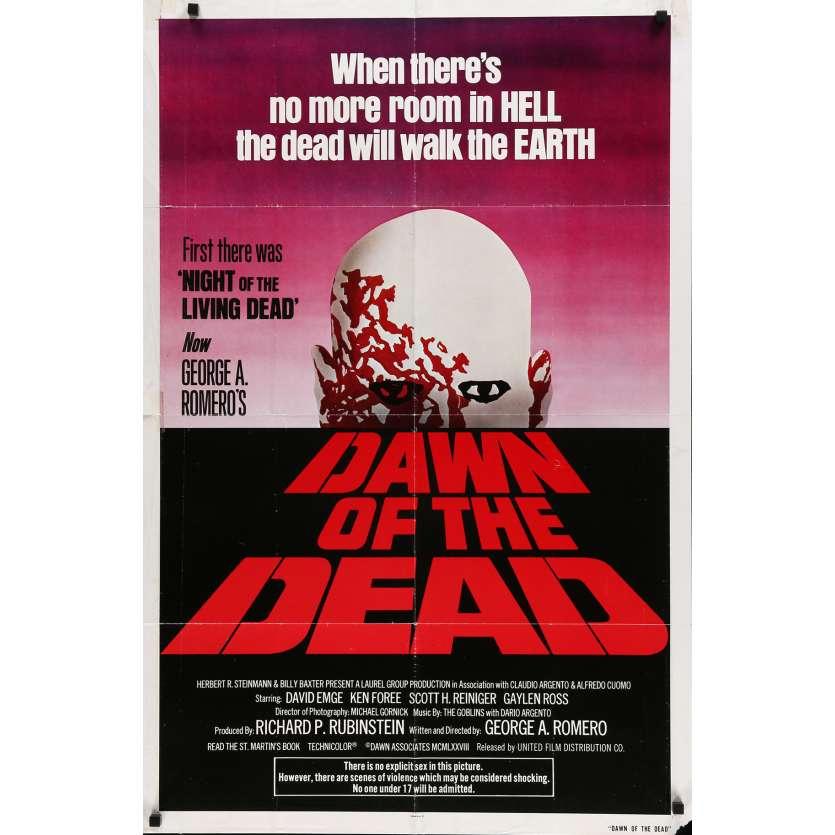 DAWN OF THE DEAD Movie Poster 29x40 in. USA - 1979 - George A. Romero, Tom Savini