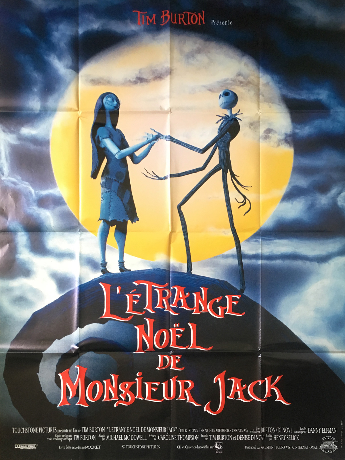 Nightmare Before Christmas In French.The Nightmare Before Christmas Original Movie Poster 47x63 In 1993 Tim Burton Danny Elfman