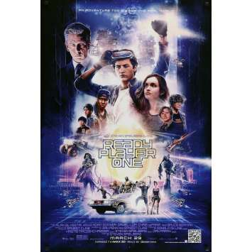 READY PLAYER ONE Advance Cast Movie Poster - 29x41 in. - 2018 - Steven Spielberg, Olivia Cooke