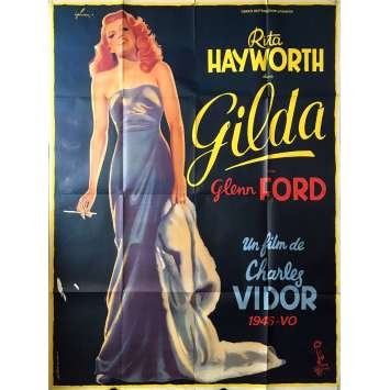 GILDA Original Movie Poster - 47x63 in. - R1970 - Charles Vidor, Rita Hayworth