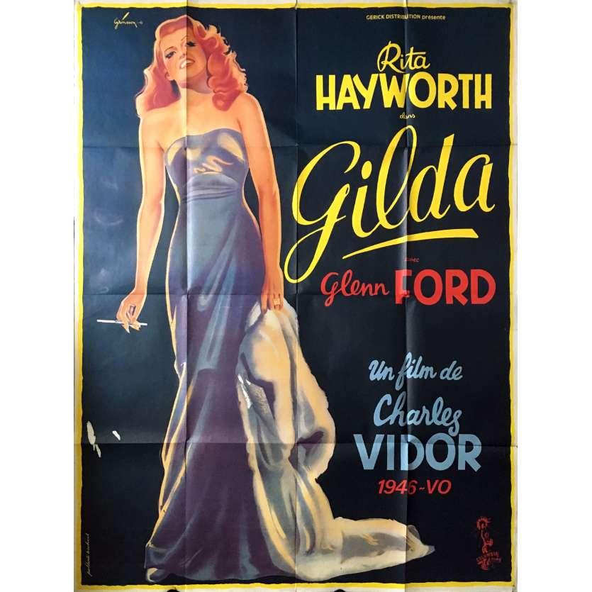 GILDA Affiche de film - 120x160 cm. - R1970 - Rita Hayworth, Charles Vidor
