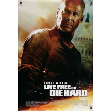 LIVE FREE OR DIE HARD Original Movie Poster Style B - 27x40 in. - 2007 - Len Wiseman, Bruce Willis