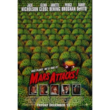 MARS ATTACKS Affiche de film Int. Prev. - 69x102 cm. - 1996 - Jack Nicholson, Tim Burton