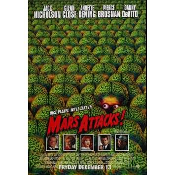 MARS ATTACKS Original Movie Poster Int'l Adv. - 27x40 in. - 1996 - Tim Burton, Jack Nicholson