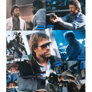 HERO AND THE TERROR Original Lobby Cards x7 - 9x12 in. - 1988 - William Tannen, Chuck Norris