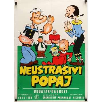 POPEYE THE SAILOR Original Movie Poster - 20x27 in. - 1960's - Dave Fleischer, Dave Fleischer