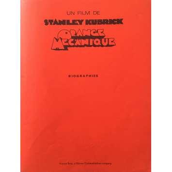 ORANGE MECANIQUE Dossier de presse - 21x30 cm. - 1971 - Malcom McDowell, Stanley Kubrick