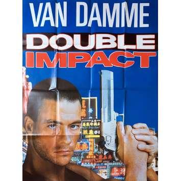 DOUBLE IMPACT Original Movie Poster Adv. - 47x63 in. - 1991 - Sheldon Lettich, Jean-Claude Van Damme