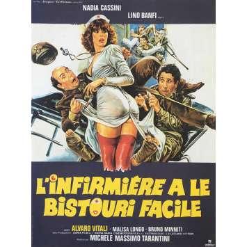 L'INFIRMIERE A LE BISTOURI FACILE Affiche de film - 40x60 cm. - 1980 - Nadia Cassini, Michele Massimo Tarantini