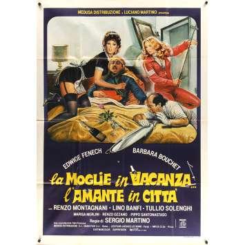 LA MOGLIE IN VACANZA L'AMANTE IN CITTA Italian Movie Poster 39x55 - 1980 - Sergio Martino, Edwige Fenech