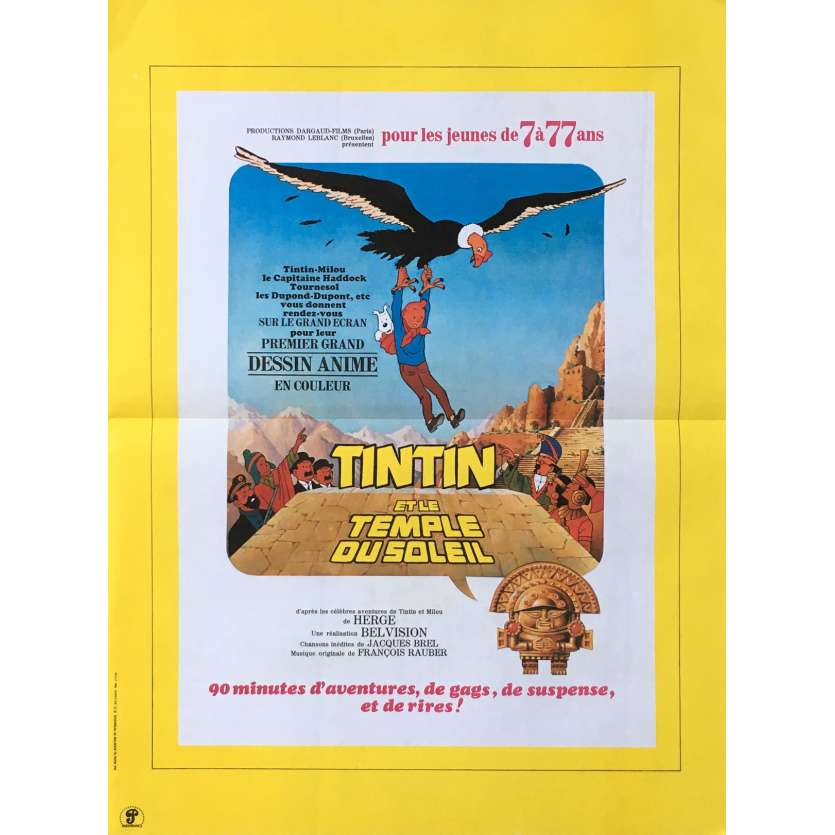 TINTIN ET LE TEMPLE DU SOLEIL French Movie Poster 15x21 - 1969 - Hergé, Hergé