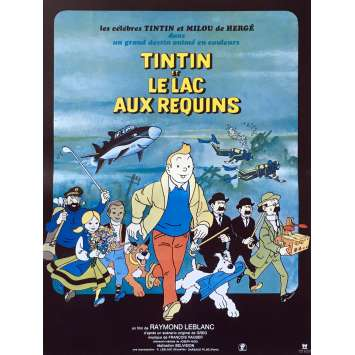 TINTIN AND THE LAKE OF SHARKS Original Movie Poster - 15x21 in. - R1980 - Raymond Leblanc, Jacques Balutin
