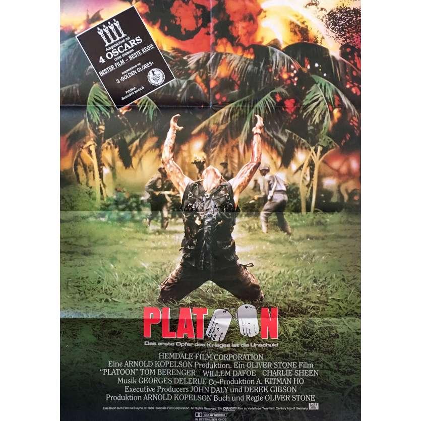 PLATOON Original Movie Poster - 23x33 in. - 1986 - Oliver Stone, Willem Dafoe