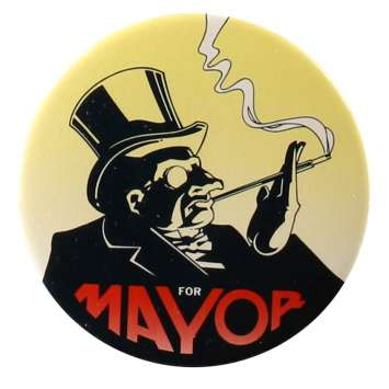 BATMAN / PENGUIN FOR MAYOR Original Pin-back Button - 1992 - Tim Burton