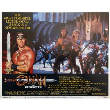 CONAN THE DESTROYER Original Lobby Card N06 - 11x14 in. - 1984 - Richard Fleisher, Arnold Schwarzenegger