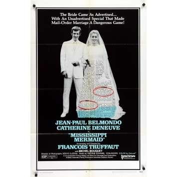 LA SIRENE DU MISSISSIPI Affiche de film - 69x102 cm. - 1969 - Jean-Paul Belmondo, François Truffaut