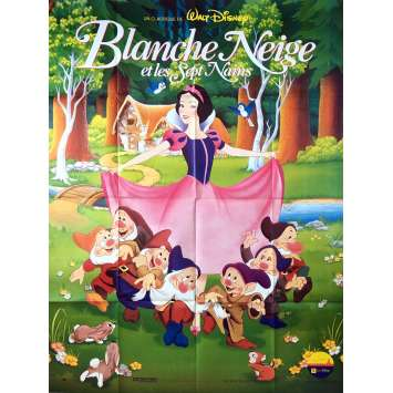 SNOW WHITE French Movie Poster 47x63 R92 Walt Disney Classic