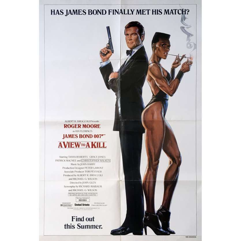 A VIEW TO A KILL Original Movie Poster Adv. - 27x40 in. - 1985 - James Bond, Roger Moore