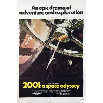 2001 A SPACE ODYSSEY Original Movie Poster - 27x40 in. - R1980 - Stanley Kubrick, Keir Dullea