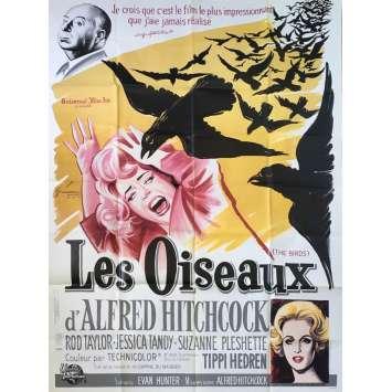 LES OISEAUX Affiche de film - 120x160 cm. - R1980 - Tippi Hedren, Alfred Hitchcock