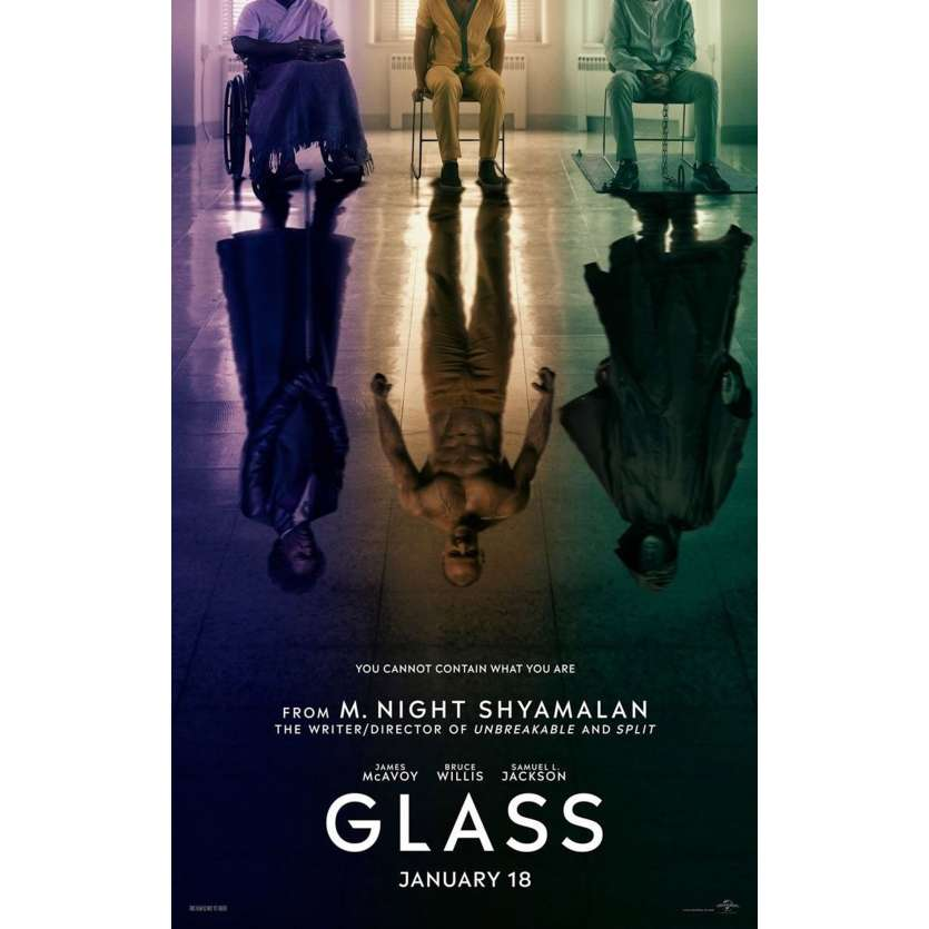 GLASS Affiche de film Prev. - 69x102 cm. - 2019 - Bruce Willis, M. Night Shyamalan