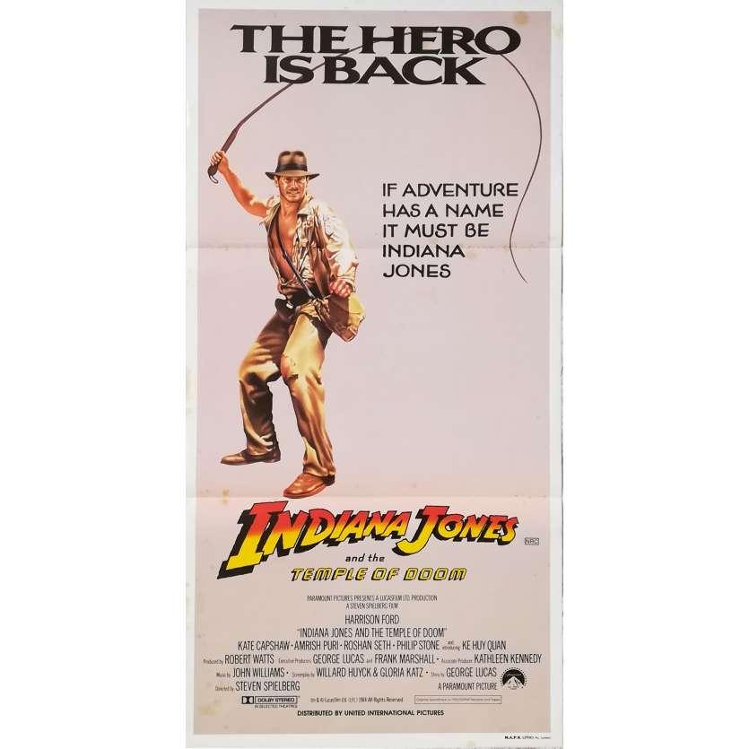 INDIANA JONES ET LE TEMPLE MAUDIT Affiche de film - 33x78 cm. - 1984 - Harrison Ford, Steven Spielberg