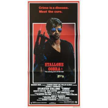 COBRA Original Movie Poster - 13x30 in. - 1986 - George P. Cosmatos, Sylvester Stallone
