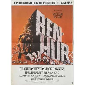 BEN-HUR Affiche de film 40x60 - R1980 - Charlton Heston, William Wyler