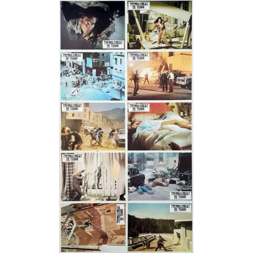 EARTHQUAKE Original Lobby Cards x10 - 9x12 in. - R1970 - Mark Robson, Charlton Heston