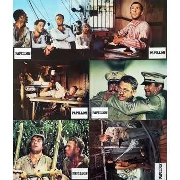 PAPILLON Original Lobby Cards x6 - 9x12 in. - 1973 - Franklin J. Schaffner, Steve McQueen