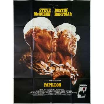PAPILLON Affiche de film - 120x160 cm. - 1973 - Steve McQueen, Franklin J. Schaffner