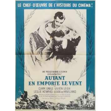 AUTANT EN EMPORTE LE VENT Affiche de film Style Bleu - 60x80 cm. - R1960 - Clark Gable, Victor Flemming