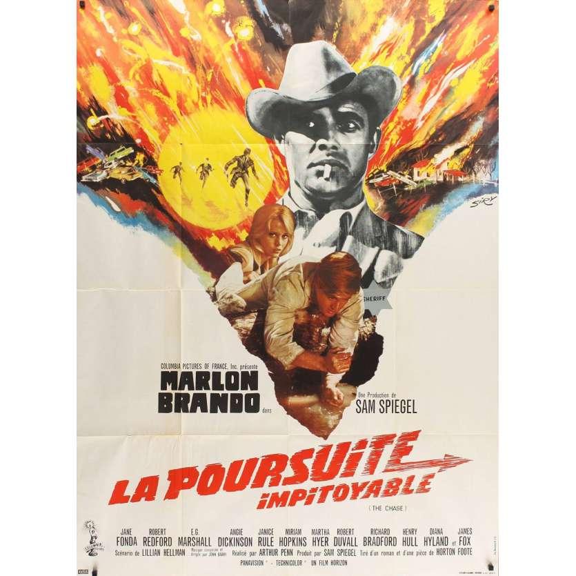 CHASE French Movie Poster '66 Marlon Brando, Jane Fonda, Robert Redford