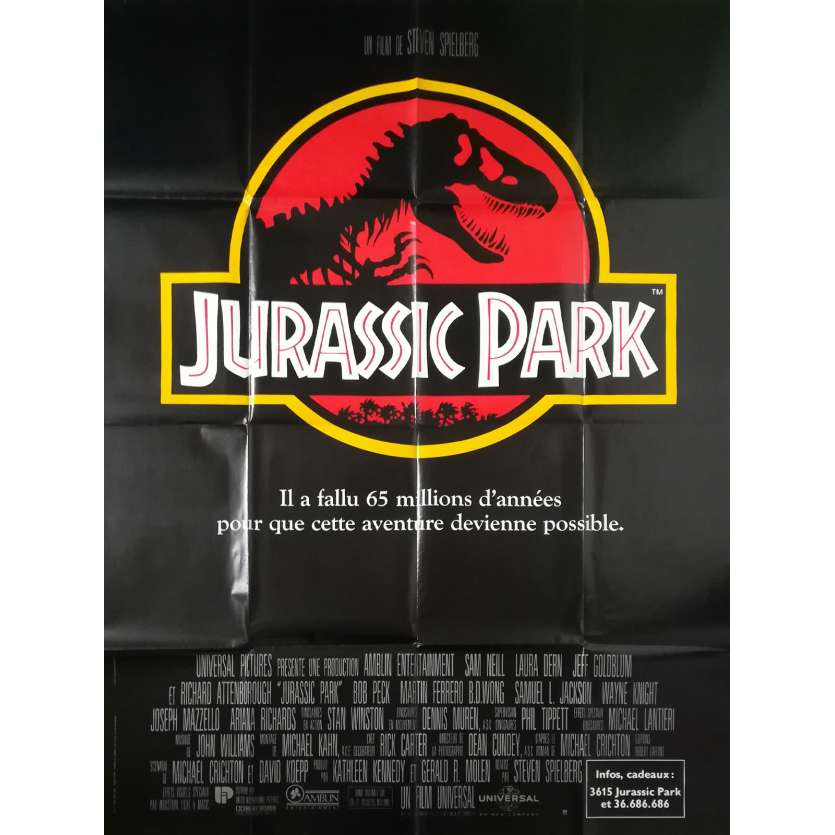 JURASSIC PARK Affiche de film - 120x160 cm. - 1993 - Sam Neil, Steven Spielberg