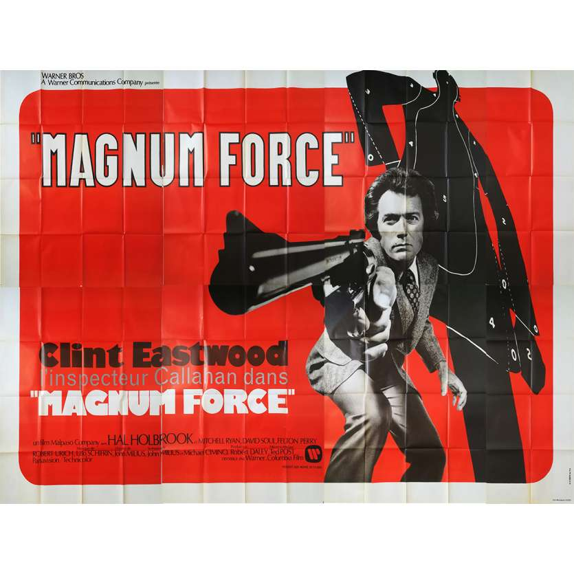 MAGNUM FORCE Original French Billboard Poster - 158x118 in. - 1973 - Clint Eastwood, Dirty Harry, Rare!